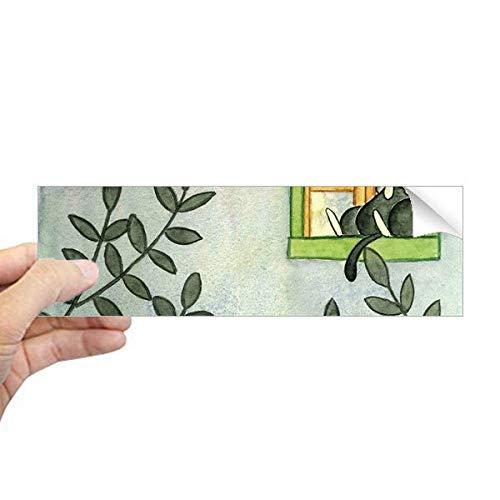 DIYthinker Miaoji Schilderij Aquarel Kat Buiten Raam Rechthoek Bumper Sticker Notebook Venster Sticker