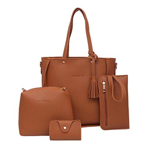 ESAILQ Femmes Set Sac à main quatre sacs d'épaule Quatre Pièces Sac fourre-tout à bandoulière Porte-monnaie (Marron)