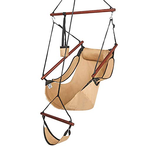 ONCLOUD Upgraded Unique Hammock Hanging Sky Chair, Air Deluxe Swing Seat with Rope Through The Bars...