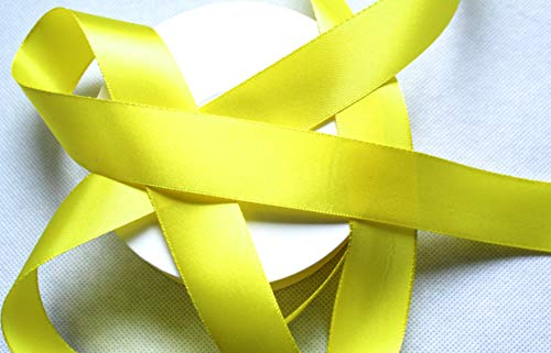 CaPiSo® Cinta de Raso 25 m x 25 mm Tafetán Cinta Lazo Satén Cinta de Regalo Decoración Amarillo limón
