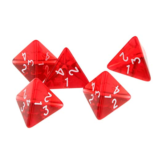 Yiotfandoll 5PCS Polyhedral Dice 20mm D4 for Dungeons and Dragons DND RPG MTG Dice Table Games Red with Black Bag