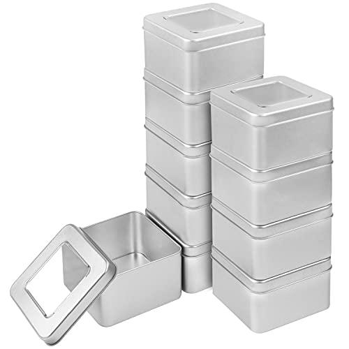 Kurtzy Boite Metal Argenté avec Couvercle (Lot de 10) - L9 x l9 x H5,7 cm - Pot Vide Cosmétiques Portable Carré en Métal - Pot a Bougie Vide, Petit Pot Vide, Kit de Survie