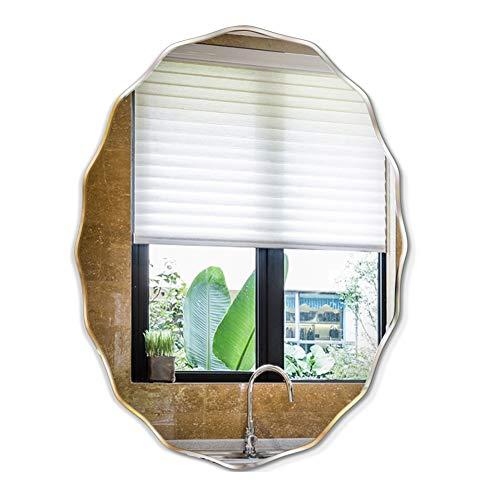 JYING Specchio da Bagno Ovale Senza Cornice,Specchio da Parete con Bordi Smussati per Soggiorno e Camera da Letto,Specchio da Parete per Corridoio Moderno a Forma di Onda 45x60 cm (18x24 Pollici)