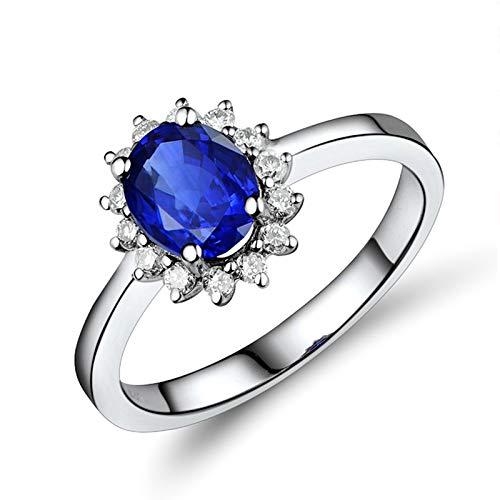 Beydodo Anillos Mujer de Compromiso,Anillo de Oro Blanco 18 Kilates Mujer Plata Azul Oval Flor Zafiro Azul 1.3ct Diamante 0.21ct Talla 13,5(Circuferencia 53MM)