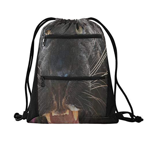 WDDHOME Kordelzug Tasche Mittelschwarz Jaguar Panther Schöne Augen Sporttasche Kordelzug Taschen Für Frauen Leicht Mit Reißverschluss Tasche Sport Athletic School Travel Gym Cinch Sack