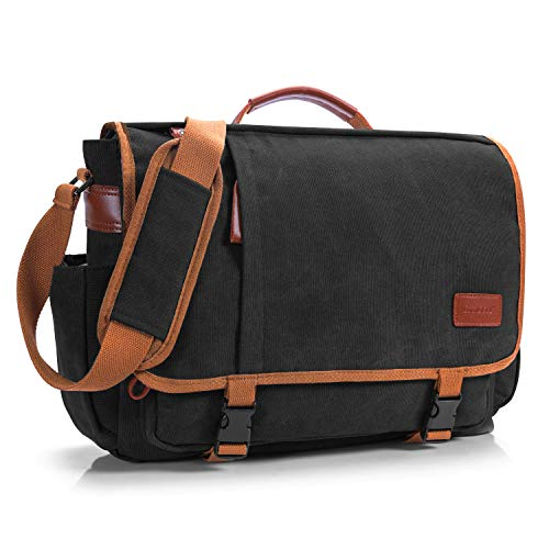 CoolBELL 17 Zoll Aktentasche Messenger Bag Umhängetasche Laptop Tasche Handtasche Business Briefcase Multifunktions Reise Tasche Passend für 17 - 17,3 Inch Laptop / Damen / Herren(Canvas Schwarz)