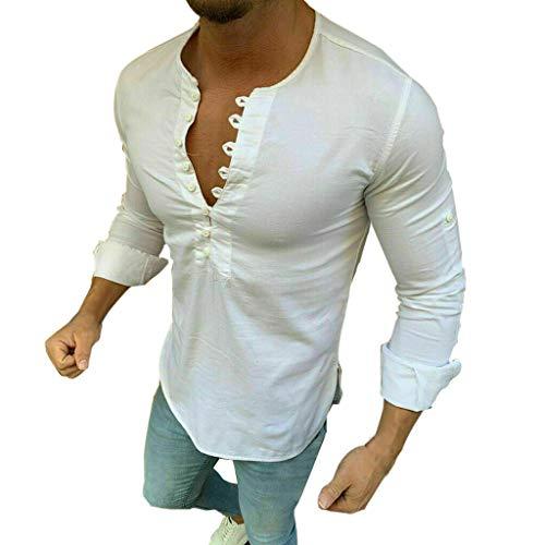 DNOQN Top Herren Long Tee Männer Herren Baggy Baumwolle Leinen Solide Langarm Retro T Shirts Tops Bluse XL