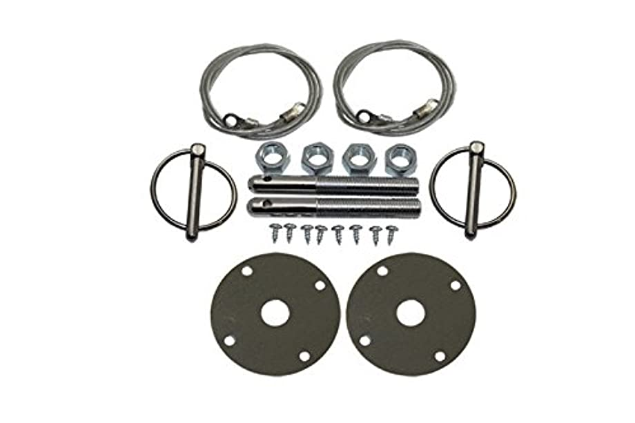 Mota Performance A30133 Chrome Hood Pin Kit Flip Over Style with Lanyards featuring 1/2