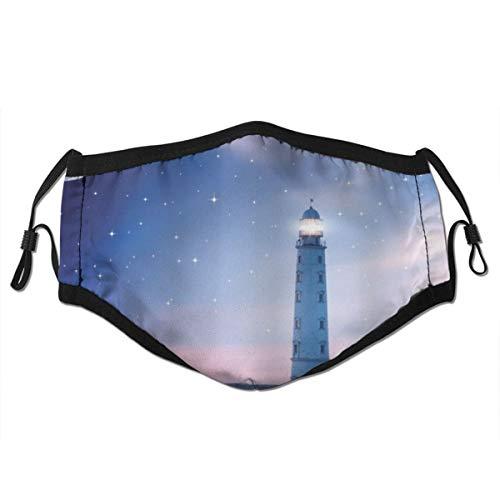 CONICIXI Leuchtturm bei Nacht Oceanic Space und Sterne Moon Smock Fantasy Magical View Staubwaschbarer wiederverwendbarer Filter und wiederverwendbarer Mund Warmes winddichtes Baumwollgesicht