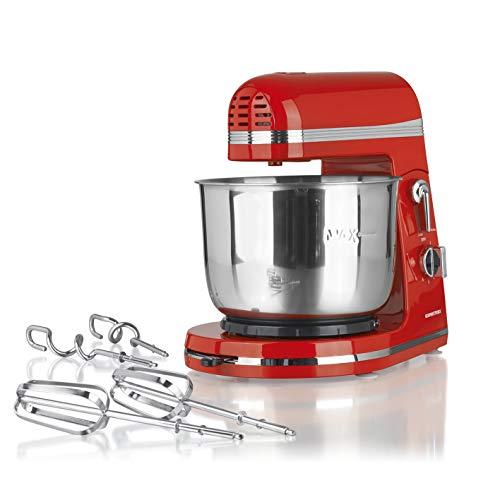 GOURMETmaxx Retro Küchenmaschine Multifunktional | Rührmaschine mit Rühr-Aufsatz und Kent Haken | inkl. 3 Liter Edelstahl Rührschüssel [250Watt]