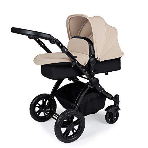 Ickle Bubba Stomp V3 Sistema de viaje todo en uno con base Isofix   El paquete incluye carrycot, silla de paseo y asiento de coche, accesorios   Chasis de arena en negro
