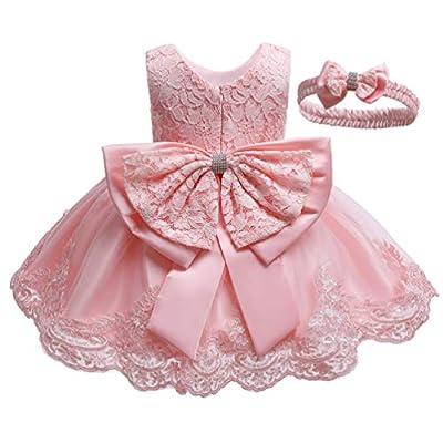 KILO&METERS Formal Prom Summer Wedding Girls Dresses A-line Sleeveless Knee Length Tutu Ruffle Kids Dress Princess Christeing Birthday Party Baby Dress 18M All Pink
