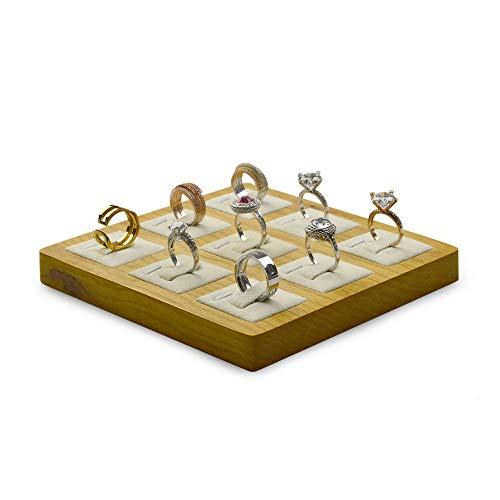 Oirlv 9-fach Holzring Display Rack Juwelier Vitrine Display Schmucktabletts Aufbewahrungsbox Halterung Schmuckständer (beige)