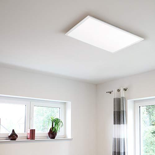 LED Panel 45x45 cm, Decken-Leuchte Lichtfarbsteuerung CCT warmweiß – kaltweiß - tageslichtweiß, superflach, 1960 Lumen, Dimmer per Fernbedienung, Büro-/Decken-Lampe