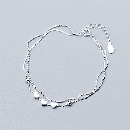 CHWEI Knitted Hat Pulseras para Mujer Pulsera De Corazón Blanco De Plata De Ley 925 para Mujer Eslabones De Cadena Joyería De Moda para Oficina Regalo De Cumpleaños Moda A