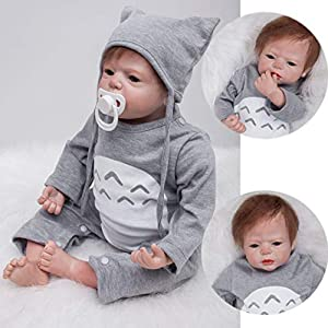 """GREAT FOR - Birthday present, Christmas gift, Preschool activity, Home activity, Role playing, Nurturing play, you kids will acquire social ability and strong cognitive ability. ZIYIUI 22 """"Reborn baby package, which includes: Reborn Baby Doll Boy bea..."""