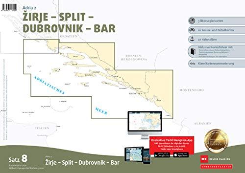 Sportbootkarten Satz 8: Adria 2 (Ausgabe 2019/2020): Zirje - Split - Dubrovnik - Bar