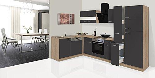 Respekta Economy L-vorm hoek keuken kitchenette eiken ruw grijs 310x172cm incl. Ceran & Designer afzuigkap