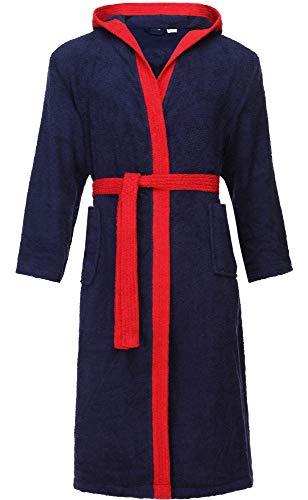 Ladeheid Albornoz de Baño 100% Algodón Ropa de Casa Hombre LA40-190 (Azul Oscuro-29/Rojo-26, XXL)
