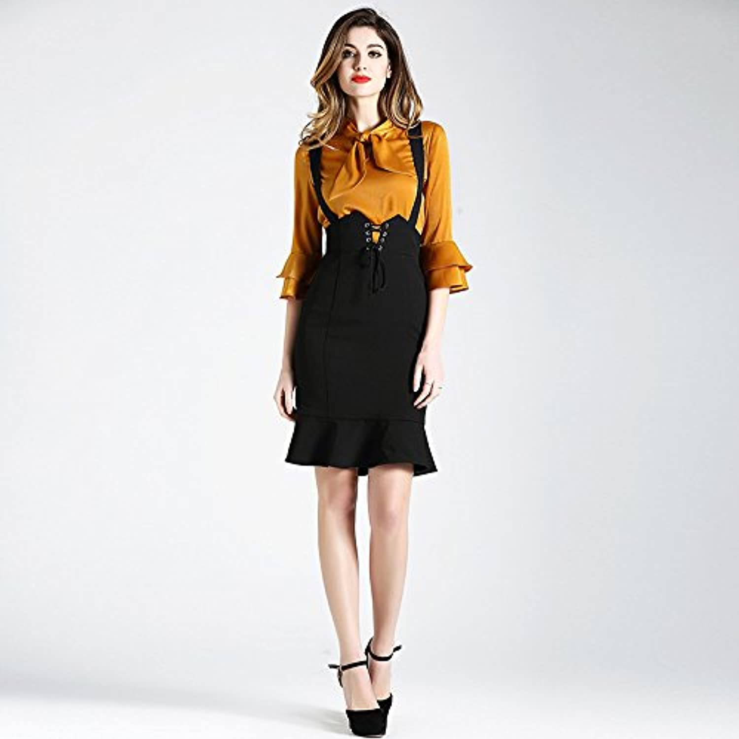 ZHUDJ 2 Tie Shirt With Two Pieces Of Jacket And Buttocks Dress
