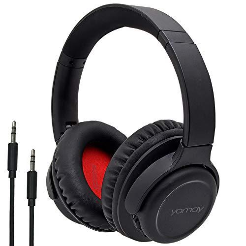 YAMAY Auriculares Bluetooth con Micrófono, Bluetooth 5.0 Audio Estéreo Infinito y 3.5 mm Jack para PC/Mac/Teléfono Móvil/Laptop Trabajar, Gaming o Escuchar Música Cascos