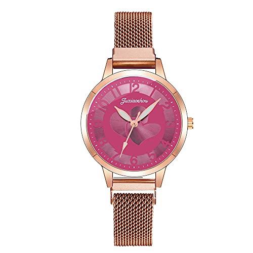 CXJC Malla de Malla de Acero Inoxidable Modelo de Amor Reloj de señoras. Reloj Digital de Cuarzo. Reloj Deportivo Impermeable (Color : J)