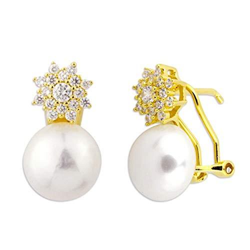 Pendientes Mujer Tu y Yo Redondos Perlas y Cuajo Circonitas Plata de Ley 925 Dorados. 12 X 9 Mm Cierre Omega