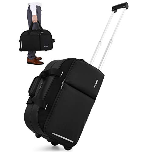 Gonex Rolling Duffle Bag with Wheels, 40L Water Repellent Wheeled Duffel Carry On Luggage with rollers 22 inch Black