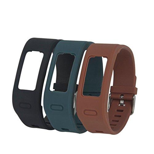 Fit-power - Bracelets de remplacement en silicone pour Garmin Vivofit avec fermoir en métal - Montre connectée non inclus - Seules les bandes de remplacement sont incluses, Lot de 3