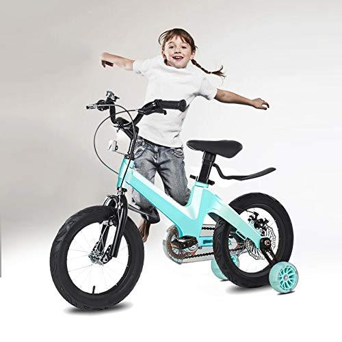 NEWPIN Magnesium legering De fiets als een geschenk voor jongens met schokdemper veer, zadel en stuur in hoogte verstelbaar, gesloten kettingkast, 2 remmen, anti-slip pedaal, trainingswielen