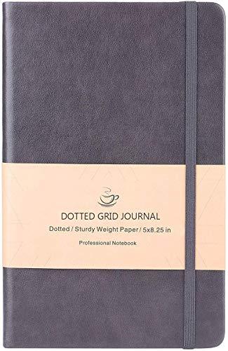 Bullet Journal, Carnet Pointillé avec 128 Pages, Couverture en Similicuir Lisse Gris,13x21.5cm