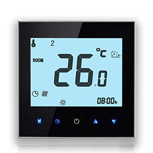 Termostato para calefacción BECA, con pantalla LCD táctil 3/16A, inalámbrico y programable, negro, 3A for Boiler Heating(WIFI) 220.00 volts