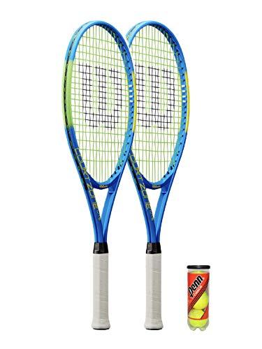 Wilson Court Zone Lite - Raqueta de tenis (incluye 3 pelotas de tenis (opciones individuales y dobles) (2 raquetas y pelotas)