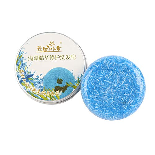 Barre de Shampooing, Angmile Barre Solide Shampooing Savon Croissance des Cheveux Savon Bar pour la Perte de Cheveux Nettoyage Usine Essence Shampoo & Conditioner 100% Naturel Fait à la Main (Algues)