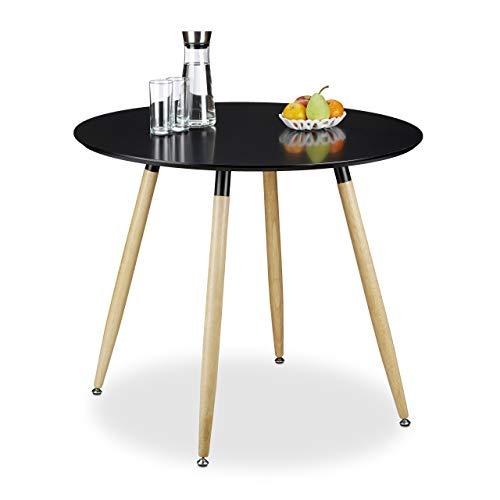 Relaxdays Runder Esstisch ARVID, Holz, HxD: 74 x 90 cm, Beine natur, Gummi Untersetzer, schwarz