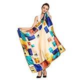 シルクスカーフ、絹のスカーフ、100% シルク、不透明の表面は滑のスカーフ、正方形の110cm x 110cm、真丝围巾 (ベージュ)