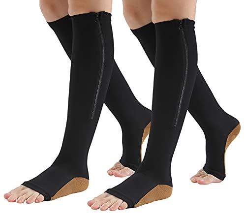 Maeau 2/3 pares de calcetines de compresión con cremallera para hombre y mujer, medias de compresión hasta la rodilla, para correr, deportes y ciclismo, Color 1-2 Pares, L-XL