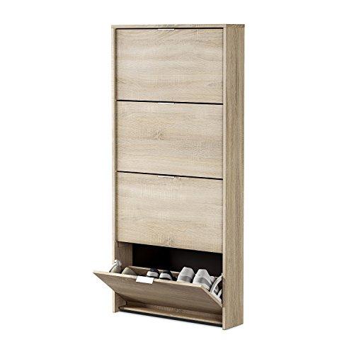 Habitdesign - Zapatero con 4 Puertas Capacidad 12 Pares Aprox, Medidas: 70 x 150 x 17 cm Profundidad (Roble Canadian)