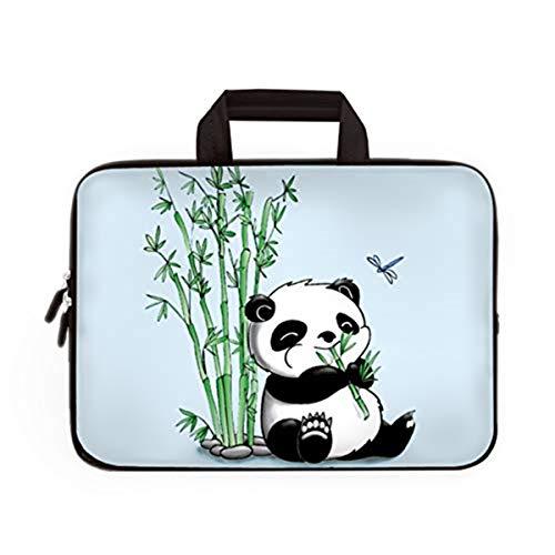 Laptoptasche mit Handgriff, Neopren, weich, für Dell Lenovo Toshiba HP Chromebook ASUS Acer (Panda & Bambus)