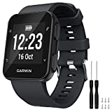 GVFM Band Compatible with Garmin Forerunner 35, Soft Silicone Replacement Watch Band Strap for Garmin Forerunner 35 Smart Watch, Fit 5.11-9.05 Inch (130-230 mm) Wrist (Black)