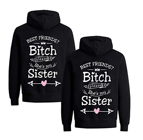 Daisy for U Beste Freunde Pullover für Zwei Mädchen Best Friends Hoodie BFF Pullover Sister Kapuzenpullover Damen Pulli, M, Schwarz1