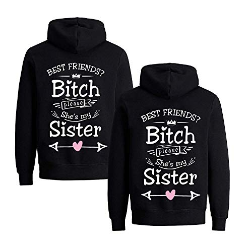 Daisy for U  Beste Freunde Pullover für Zwei Mädchen Best Friends Hoodie BFF Pullover Sister Kapuzenpullover Damen Pulli, L, Schwarz1