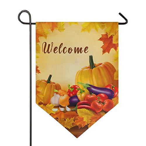 jenny-shop Willkommen Erntedankfest Herbst Kürbis Ahornblätter Gartenfahne Gemüse Holzernte Herbst Doppelseitig 12,5 x 18 Zoll