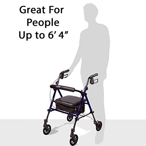 Carex Step 'N Rest Aluminum Rollator Walker With Seat - Rolling Walker For Seniors With Back Support, 6 Inch Wheels, 250lbs Support, Lightweight
