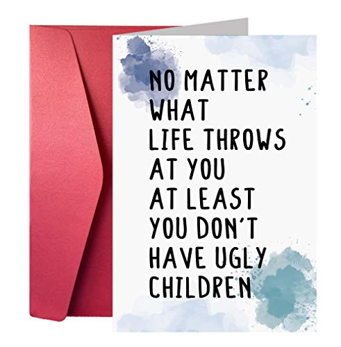 Funny Birthday Card for Parents from Son Daughter, Bday Card for Mom Dad, You Don't Have Ugly Children