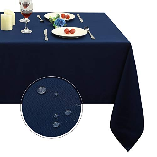 Obstal Rectangle Table Cloth, Oil-Proof Spill-Proof and Water Resistance Microfiber Tablecloth, Decorative Fabric Table Cover for Outdoor and Indoor Use (Navy Blue, 60 x 84 Inch)