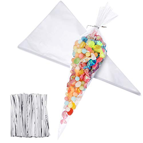 100 Pieces Christmas Medium Transparent Cone Bags Clear Cello Bags Sweets Treat Bags with 100 Pieces Twist Ties, 11.8 by 6.3 Inch (Silver Twist Ties)