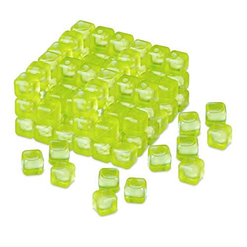 Relaxdays Cubetti Riutilizzabili, Set da 100, Ghiaccio Refrigerante in Plastica, per Cocktail, Verde
