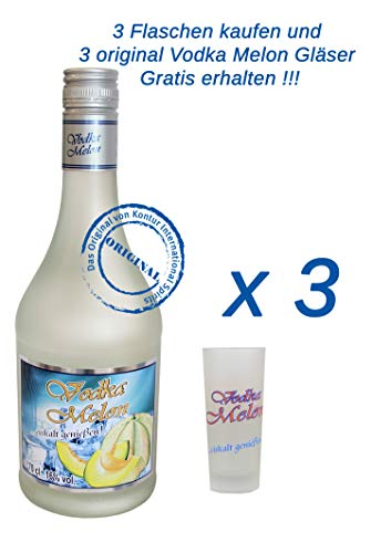 3 x Vodka Melon 0,7Liter 16% vol. mit 3 Gläser 2/4cl.