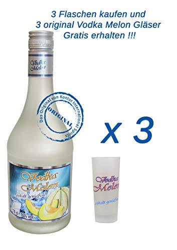 3 x Vodka Melon 0,7Liter 16% vol. mit 3 Gläser 2/4cl.